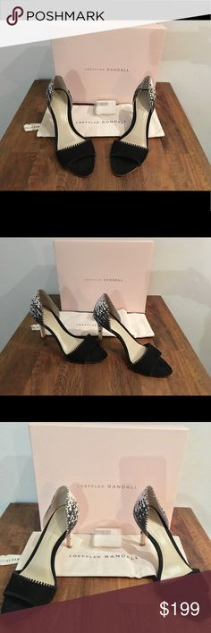 """Loffler Randall Leora D'Orsay Pumps New in box Loeffler Randall Leora d'Orsay pumps. Made in Brazil. Heel height is 3.75"""". Beautiful black suede open toe with beautiful mini laser cut out trim, and ombré black/white textured heel. Never worn. Scuff marks on bottom are from try on only. Original Price is $350, reduced to $199 as pictured. Purchased on final sale and sadly they do not fit me. Wear with skinny jeans, a button down, and an envelope clutch for a fierce look! 🔥 Loeffler Randall…"""