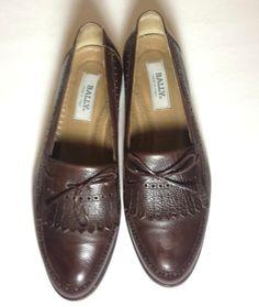 BALLY Brown Italian Made Leather Fringe Bow - Loafer Dress Shoe - Men 9.5 M $430