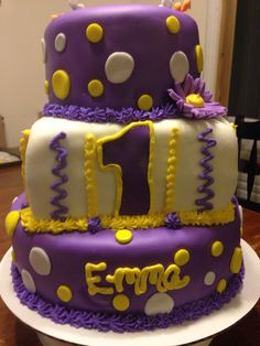 Purple and Yellow 1st Birthday Cake