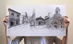 """""""fusión de lugares"""" I (bic pen) artist: marinaggalietero"""