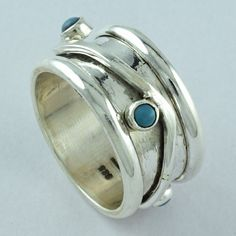 PRESTIGES DESIGN TURQUOISE STONE 925 STERLING SILVER SPINNER RING S.10.5US,R3876 #SilvexImagesIndiaPvtLtd #Spinner