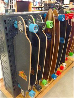 Skateboards on All Wire Single-Prong Display Hooks for Perfed Metal Diy Bike Rack, Skateboard Shop, Perforated Metal, Longboarding, Sports Shops, Skateboards, Outdoor Activities, More Fun, Diy Home Decor