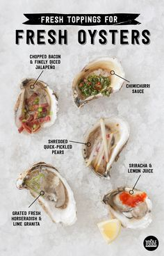Fresh Toppings for Fresh Oysters - Seafood Fish Recipes, Seafood Recipes, Whole Food Recipes, Cooking Recipes, Healthy Recipes, Easy Cooking, Raw Oysters, Fresh Oysters, Fresh Seafood