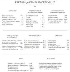 Kampaamo Eira ja Maria Oy Hinnasto