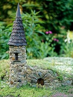 This garden highlights a stone castle almost as sturdy as its full-size counterpart