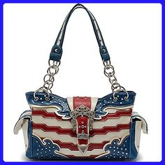American Pride Concealed Carry Women's Leather Handbag in 2 Styles (Blue) - Shoulder bags (*Amazon Partner-Link)