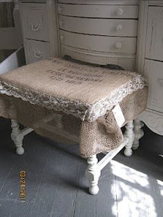 sweet burlap and lace stool