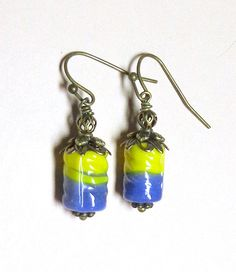 Jewelry Earrings Blue Yellow  Lampwork  by SpiritCatDesigns, $5.00