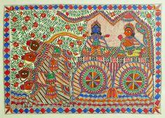 Gita Updesh By Krishna To Arjuna in the Battle of Kurukshetra (Madhubani Folk Art on Paper - Unframed))