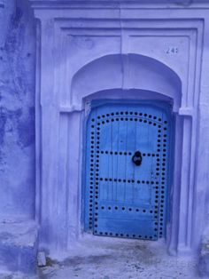 Traditional Moorish-styled Blue Door, Morocco Photographic Print by John & Lisa Merrill