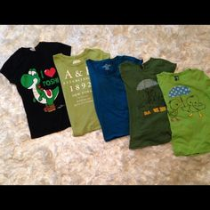 Bundle of 5 t-shirts Bundle of 5 t-shirts. Cute graphic designs! Various designs and sizes which will fit junior size XS to S. Gently used. Tops Tees - Short Sleeve