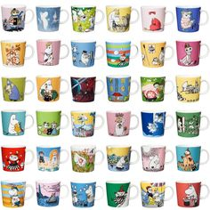 A complete overview of Arabia's all moomin mugs. See all the cups and learn more about their background. Moomin Books, Moomin Mugs, Moomin Shop, 65th Anniversary, Tove Jansson, Hobgoblin, Soap Bubbles, Save The Children, Book And Magazine
