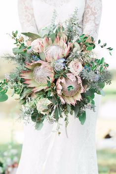 Wedding bouquet with blush and earth tones featuring king protea Protea Wedding, Flower Bouquet Wedding, Floral Wedding, Wedding Colors, Protea Bouquet, Church Wedding Flowers, Bridal Flowers, Bride Bouquets, Wedding Bouquets
