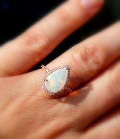 Opal Engagement Ring Opal and Diamond Ring Welo Opal by AleaMariCo