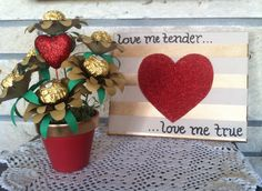 Valentine package- canvas wall art and bouquet made with handcrafted flowers and Ferrero Rocher chocolate centers (card included, not pictured)
