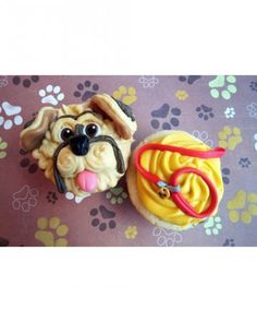 Dog and Leash Cupcakes - These fun, puppy-themed cupcakes were baked by user BitsyBakes for a little boy's birthday. This frisky fido is made from piped frosting, caramels, marshmallows, and fondant bits.