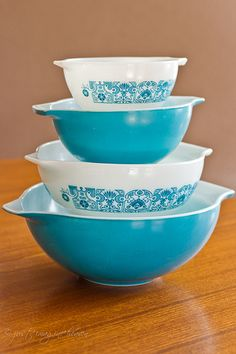 Horizon Blue--looks just like the mixing bowls my mom had when I was growing up.