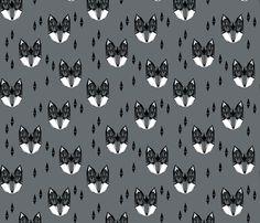Geometric Fox Head - Charcoal fabric by andrea_lauren on Spoonflower - custom fabric