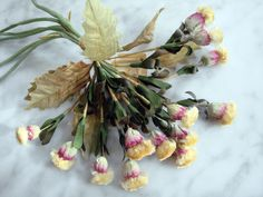 Vintage 1940s millinery flower trim bouquet yellow wildflowers thistles Germany