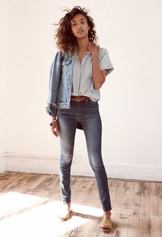 madewell 9 high-rise skinny jeans worn with the striped central shirt jean jacket. #denimmadewell