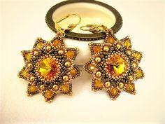 Ohrhänger - Ohrhänger Blüte in Gelb & Bronze Glasperlen  - ein Designerstück von NataKoma bei DaWanda