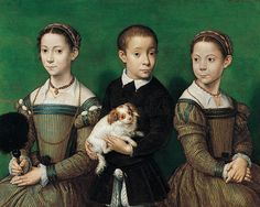 A portrait of two sisters and one brother from the Gaddi family. By Sofonisba Anguissola, 16th century.