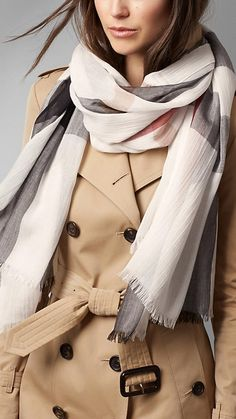 Burberry Ivory Check Modal Cashmere and Silk Scarf - A check scarf in a soft, lightweight blend of modal, cashmere and silk. Discover the scarves collection at Burberry.com
