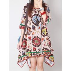 $15.97 Casual Scoop Collar 3/4 Sleeve Printed Asymmetrical Women's Dress
