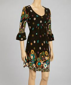 Another great find on #zulily! Black & Green Floral Ruffle V-Neck Dress by Reborn Collection #zulilyfinds