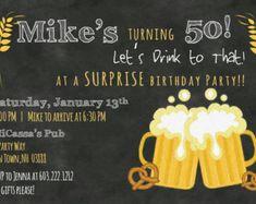 Adult Man Birthday Party Invitation by AsYouWishCreations4u