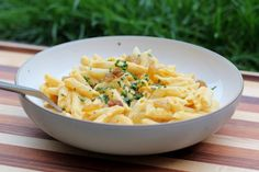 """penne with creamy vegan sweet potato sauce - for my list of """"recipes I want to try once I have a food processor"""""""