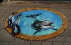 Dolphin and penguin street art. Love!
