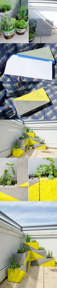 Patio landscaping using concrete blocks as flower pots!