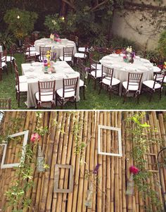 A wall of bamboo. Great for a photobooth or dessert table backdrop. I like the empty frames for adding a rustic touch. The vases could have cherry blossoms or orchids.