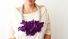 Purple Necklace Yarn Necklace Rope Necklace Chunky by IKKX on Etsy, €34.00