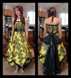 Caution Tape Dress by KalieMONSTER.deviantart.com on @deviantART (it's made out of duct tape, caution tape and trash bags)