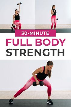 Build full body strength at home! Each strength circuit includes -- upper body, lower body, full body, core and abs. The perfect low impact, full body workout to build strength at home. Add it to your workout plan 1-2 times a week. Full Body Strength Workout, Full Body Dumbbell Workout, Full Body Workout Routine, Full Body Workout At Home, Strength Training Workouts, Dumbbell Exercises, At Home Workouts, Body Workouts, Upper Body