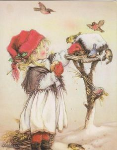 Little Girl feeds small birds Birdhouse by Lisi Martin NEW postcard Vintage Christmas Images, Christmas Pictures, Christmas Scenes, Christmas Art, Pictures To Paint, Art Pictures, Bird Silhouette, Small Birds, Vintage Greeting Cards