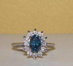NEW Custom Solid 14K White Gold Fancy Blue Diamond Cluster Ring NO RESERVE!
