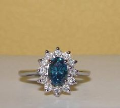 NEW Custom Solid 14K White Gold Fancy Blue Diamond Cluster Ring NO RESERVE!