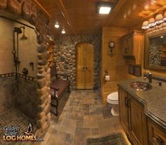 Log Cabin Homes from Golden Eagle Log and Timber Homes: Photo Gallery Log Cabin Bathrooms, Rustic Bathrooms, Dream Bathrooms, Beautiful Bathrooms, Rustic Cabin Bathroom, Modern Bathroom, Log Cabin Living, Log Cabin Homes, Log Cabins