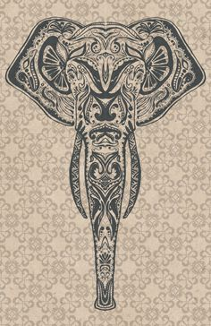Elephant Illustration Poster by BooScaredYou on Etsy, $15.00
