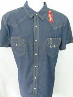 Arizona Jeans Western NWT Mens Shirt XL EXTRA Large PEARL SNAP S/S Blue Denim