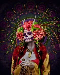 gold dia de los muertos makeup - Google Search