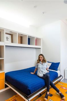 Functionally and Stylish Room for Brit Morin Office Built Ins, California Closets, Georgia Homes, Multipurpose Room, Small Space Storage, Home Bedroom, Bedrooms, Bed Wall, Murphy Bed