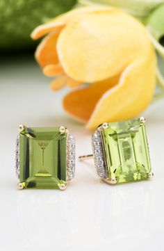 How fantastic does the lime green of these peridot earrings look with the yellow of the flowers? Outfit inspiration! | 4.20ct Emerald Cut Manchurian Peridot(Tm), .09ctw Round White Diamond Accents 10k Gold Earrings