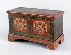 """Miniature painted dower chest, probably Lehigh County, Pennsylvania, ca. 1800, the lid and front decoration with ivory panels and large floral sprays emanating from urns within a red border on a green sponge ground supported by ochre sponge decorated bracket feet, 15"""" h., 23"""" w. Two similarly decorated chests are illustrated in Fabian, The Pennsylvania German Decorated Chest, fig. 150 and 151."""