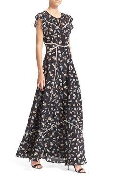 The Kooples Feather Print Flutter Sleeve Maxi Dress