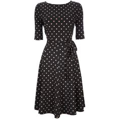 Black and Taupe Polka Dot Dress