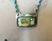 Soldered Brass Bezel Necklace with Vintage Rhinestone and Resin